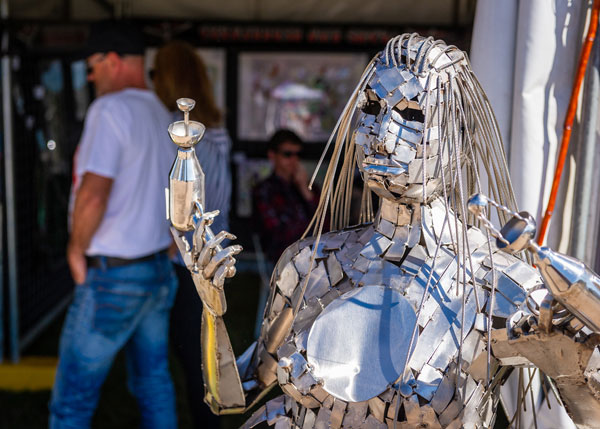 Artist Award -  Life size metal space girl sculpture by Rastra Lyall
