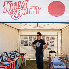 Krazy Dotty in his stall at GreazeFest